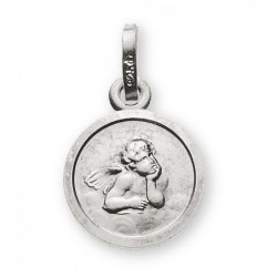 Médaille or gris 585 ange 10mm