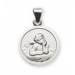 Médaille or gris 585 ange 12mm