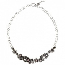 Collier WILD ROSE SMALL en argent 925 et opale rose, 46 cm