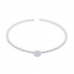 Bracelet esclave or gris 750 avec 60 boules, 2 brillants H SI 0.05ct.
