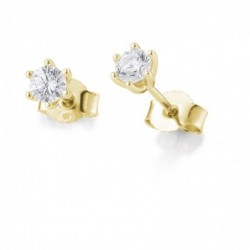 Clous d'oreilles or jaune 750/18 ct. avec diamant, 6 griffes, total 0,60 Ct. H SI