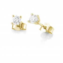 Clous d'oreilles or jaune 750/18 ct. avec diamant, 4 griffes, total 0,40 Ct. H SI