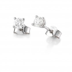 Clous d'oreilles or blanc 750/18 ct. 4 griffes avec diamant, total 0,20 Ct. H SI