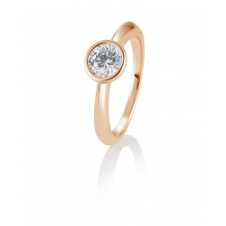 Bague solitaire or rose 750/18 ct. avec diamant, 0,80 Ct. H SI
