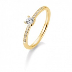Bague solitaire or jaune 750/18 ct. avec un diamant central de 0,25 Ct. H SI, 4 griffes, total 0,35 Ct. H SI