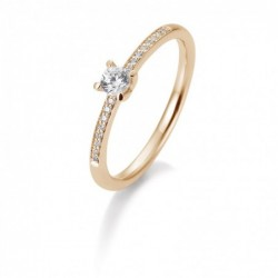 Bague solitaire or rose 750/18 ct. avec un diamant central de 0,25 Ct. H SI, 4 griffes, total 0,35 Ct. H SI