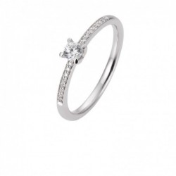 Bague solitaire platine 950 avec un diamant central de 0,25 Ct. H SI, 4 griffes, total 0,35 Ct. H SI