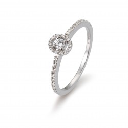Bague or blanc 750/18 ct. avec diamants, 4 griffes, ovale, total 0,22 Ct. H SI