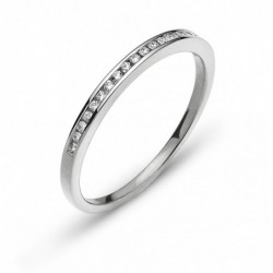 Bague or gris 750 avec 19 brillants H SI 0.10ct.