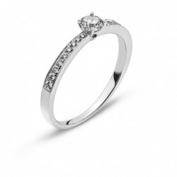 Bague or gris 750 avec 18 brillants H SI tot. 0.11ct. & 1 brillant H SI 0.23ct