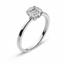 Bague or gris 750 avec 4 Marquise diamants G VS 0.37ct. & 1 diamant Princess
