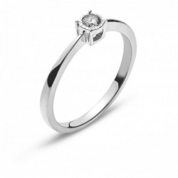Bague solitaire or gris 750 H SI 0.10ct.