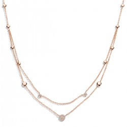 Collier Eolo or rose 750/18 ct., 33 Diamants taille brillant 0.12 ct., 42 - 45 cm