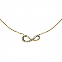 Collier or jaune 750, 45 cm avec signe infini et 18 brillants H SI 0.11 ct.