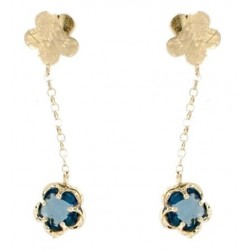Pendants d'oreilles or jaune 750 avec London blue quartz 4.61 ct.