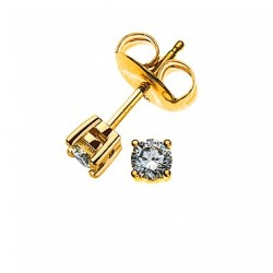 Clous d'oreilles diamants, 4-griffes or jaune 750 0.10 ct. H SI