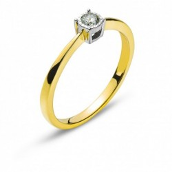 Bague solitaire or Bicolor (or jaune/or gris) 750 H SI 0.10ct.