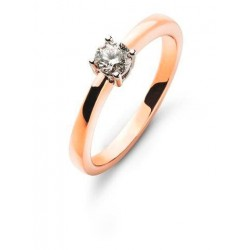 Bague solitaire 4 griffes or rose 750 H SI 0.15ct.