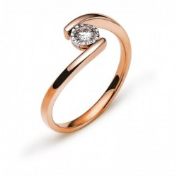 Bague solitaire or rose 750 H SI 0.18ct.