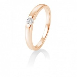 Bague solitaire or rose 750/18 ct. avec diamant, 0,10 Ct. H SI