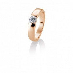 Bague solitaire or rose 750/18 ct. avec diamant, 0,40 Ct. H SI