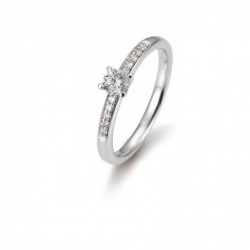 Bague solitaire avec un diamant central de 0,25 Ct. w/si, 4 griffes, total 0,325 Ct. w/si